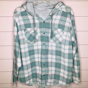 COLUMBIA Plaid Button Down Hooded Flannel size 2X